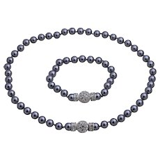 Nolan Miller 8 mm Simulated Grey Pearl Necklace and Bracelet with Crystal Clasps