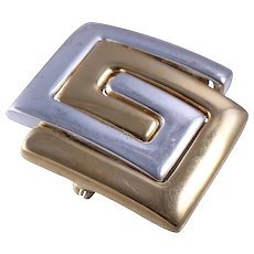 Givenchy Haute Couture The Eighties Mixed Metal Logo Brooch/Pin