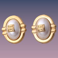 Givenchy Haute Couture Faux Pearl Logo Clip-Style Earrings