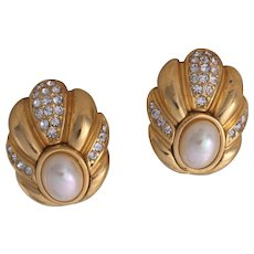 Christian Dior Art-Deco Styled Simulated Pearl Clip-On Earrings