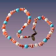 Miriam Haskell 1970s Faux Coral, Turquoise and Mother of Pearl Choker Necklace