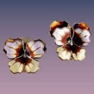 Vintage David-Andersen Sterling Silver Enamel Pansy Clip-Style Earrings