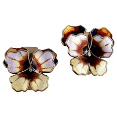 Vintage David-Andersen Sterling Silver Enamel Pansy Clip-Style Earrings