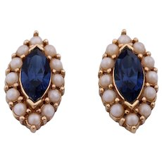 Vintage Ciner Simulated Blue Sapphire Clip On Earrings