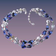 Vendome's Lavish Two Stand Crystal Blue Bow Tie Necklace