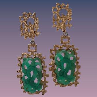 Vendome Asian Inspired Faux Jade Dangle Earrings