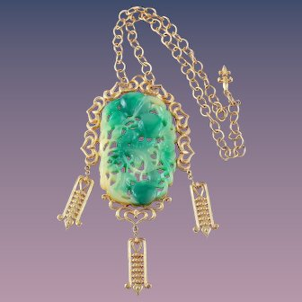 Statement Simulated Carved Jade Necklace by Vendome