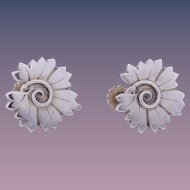 Georg Jensen Sterling Silver Stylized Leaf Earrings (Book Piece & Museum Piece), Design #102
