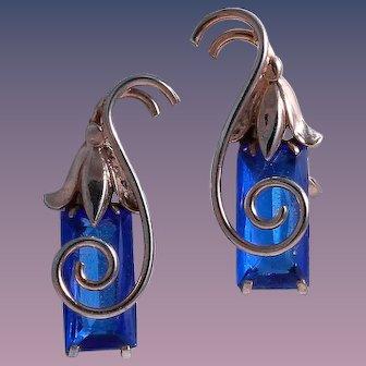 Art Deco Sterling Silver Emerald Cut Blue Glass Stylized Scroll Earrings