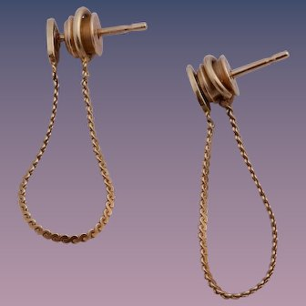 Classic 14K Yellow Gold Chain Hoop Earrings by CIANI