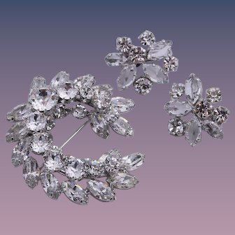 Sherman Bridal Clear Rhinestone Brooch and Earrings Set