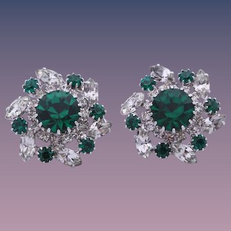 Vendome Simulated Emerald and Diamond Cluster Earrings
