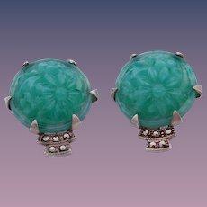 Art Deco Molded Green Peking Glass Sterling Silver Marcasite Earrings