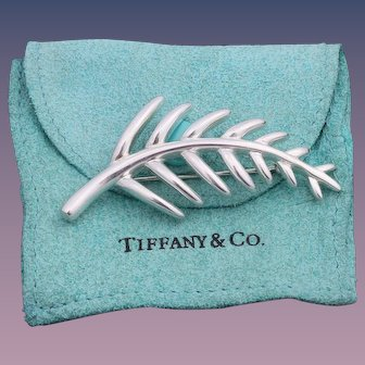 Vintage Tiffany & Co. Sterling Silver Palm Leaf  Brooch/Pin