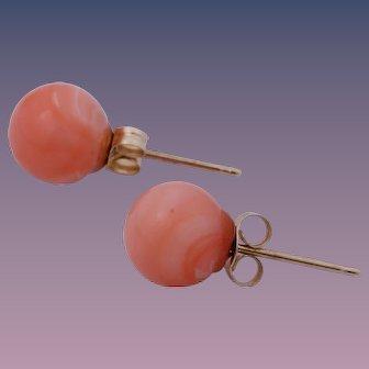 Vintage 14K Yellow Gold Angel Skin Pink Coral Stud Earrings