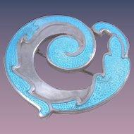 Vintage Margot De Taxco Floral Spiral Blue Enamel Sterling Silver Brooch Design #5384