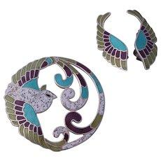 Book Piece Margot de Taxco Quetzal Bird  Brooch and Earrings Design # 5755