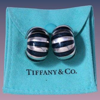 Rare 1980s Tiffany & Co. Sterling Silver Dark Blue Enamel Earrings