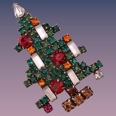 Fabulous WEISS 5 Candle Rhinestone Christmas Tree Brooch
