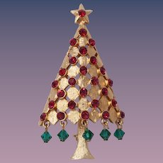 Book Piece Mylu Christmas tree Pin with Green Dangling Balls