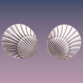 Georg Jensen Sterling Silver Shell Shaped Earrings #107 Designed by Arno Malinowski