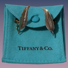 Sterling Silver & Gold Vermeil Tiffany & Co. Leaf Earrings