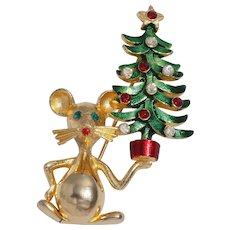 Mylu Vintage Mouse With Christmas Tree Pin