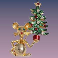 Mylu Vintage Mouse With Christmas Tree Pin
