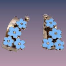 Anton Michelsen Forget-Me-Not Flower Enamel Vermeil Sterling Silver Clip Earrings