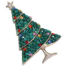 Vintage Weiss Multi-Crystal Christmas Tree Pin
