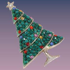 Vintage Weiss Multi-Crystal Christmas Tree Pin