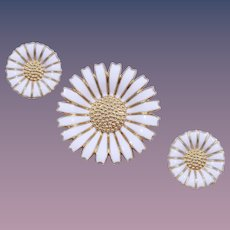 Anton Michelsen's Classic 'Marguerite daisy' Brooch and Earrings Set