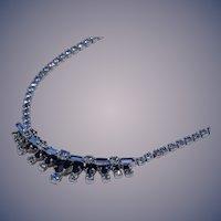 Sterling Silver Blue Rhinestone Necklace by Jay Flex