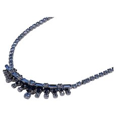 Sterling Silver Blue Rhinestone Necklace by Jay Flex