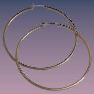 1970s Large Gold-Plate Sterling Hoop Earrings by CIANI