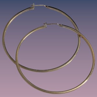 1970s Large Gold-Plate Sterling Hoop Earrings by CIANI