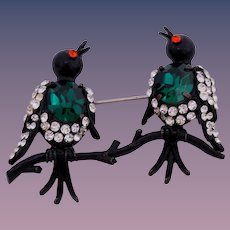 Rare Weiss Birds on  a Branch with Rhinestones and Japanned Metal