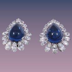 Hattie Carnegie Sapphire Blue Poured Glass Clip Style Earrings