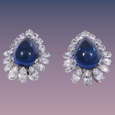 Hattie Carnegie Sapphire Blue Poured Glass Clip Style Earrings