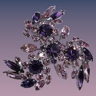 Sherman's Amethyst Purple Rhinestone Brooch/Pin