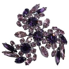 Sherman's Amethyst Purple Rhinestone Brooch/Pin