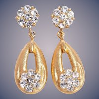 Crown Trifari Gold-Tone Diamanté Dangle Earrings