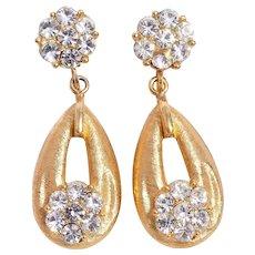 Crown Trifari Gold-Tone Diamanté Dangle Earrings