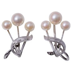 Fine Japanese Cultured Pearl Sterling Silver Earrings 1940-50s
