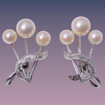 Fine Japanese Cultured Pearl Sterling Silver Earrings 1940-50s