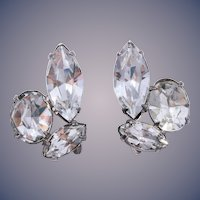 Sterling Silver 1940s Open Foil Back Rhinestone Earrings