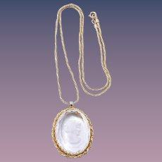 Warner Glass Cameo Gold Tone Pendant Necklace