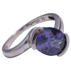 Sterling Silver Oval Amethyst Ring
