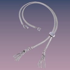 Monet 1970s Slide Silver-Tone Tassel Necklace