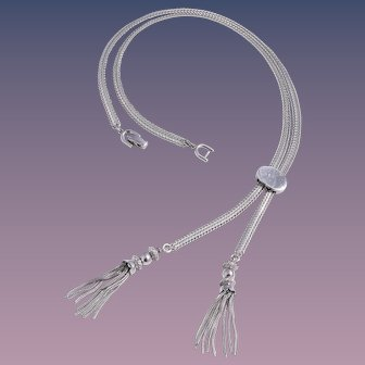 Monet 1970s Slide Silver-Tone Tassel Necklace
